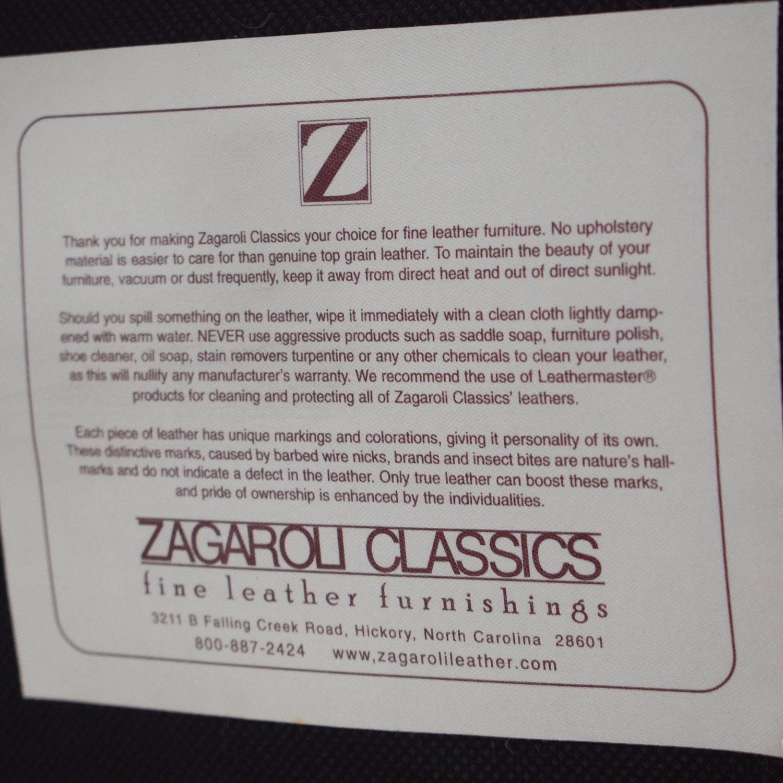shop Zagaroli Classics Oxblood Leather Sectional with Ottoman Zagaroli Classics Sectionals