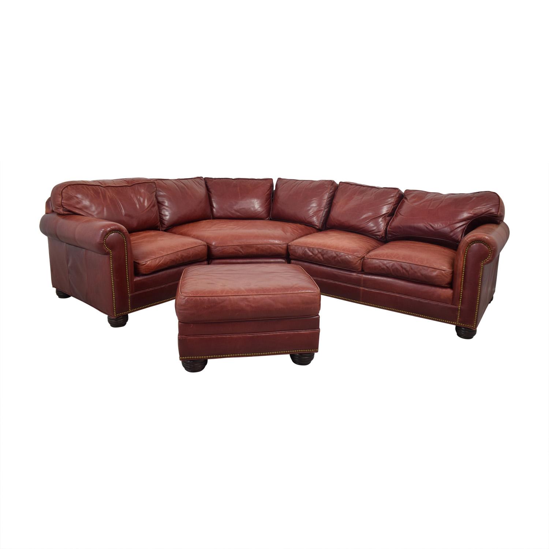 Zagaroli Classics Zagaroli Classics Oxblood Leather Sectional with Ottoman discount