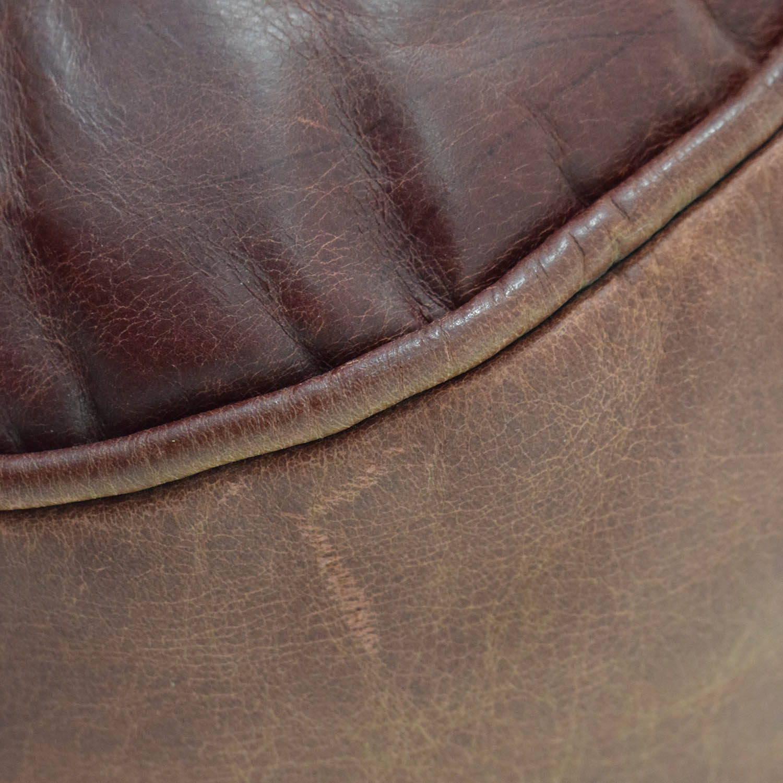 Zagaroli Classics Zagaroli Classics Oxblood Leather Sectional with Ottoman dimensions