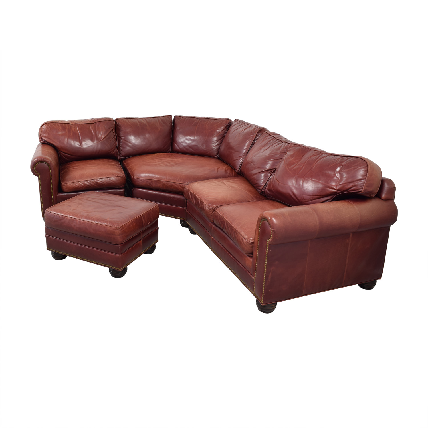 Zagaroli Classics Zagaroli Classics Oxblood Leather Sectional with Ottoman coupon