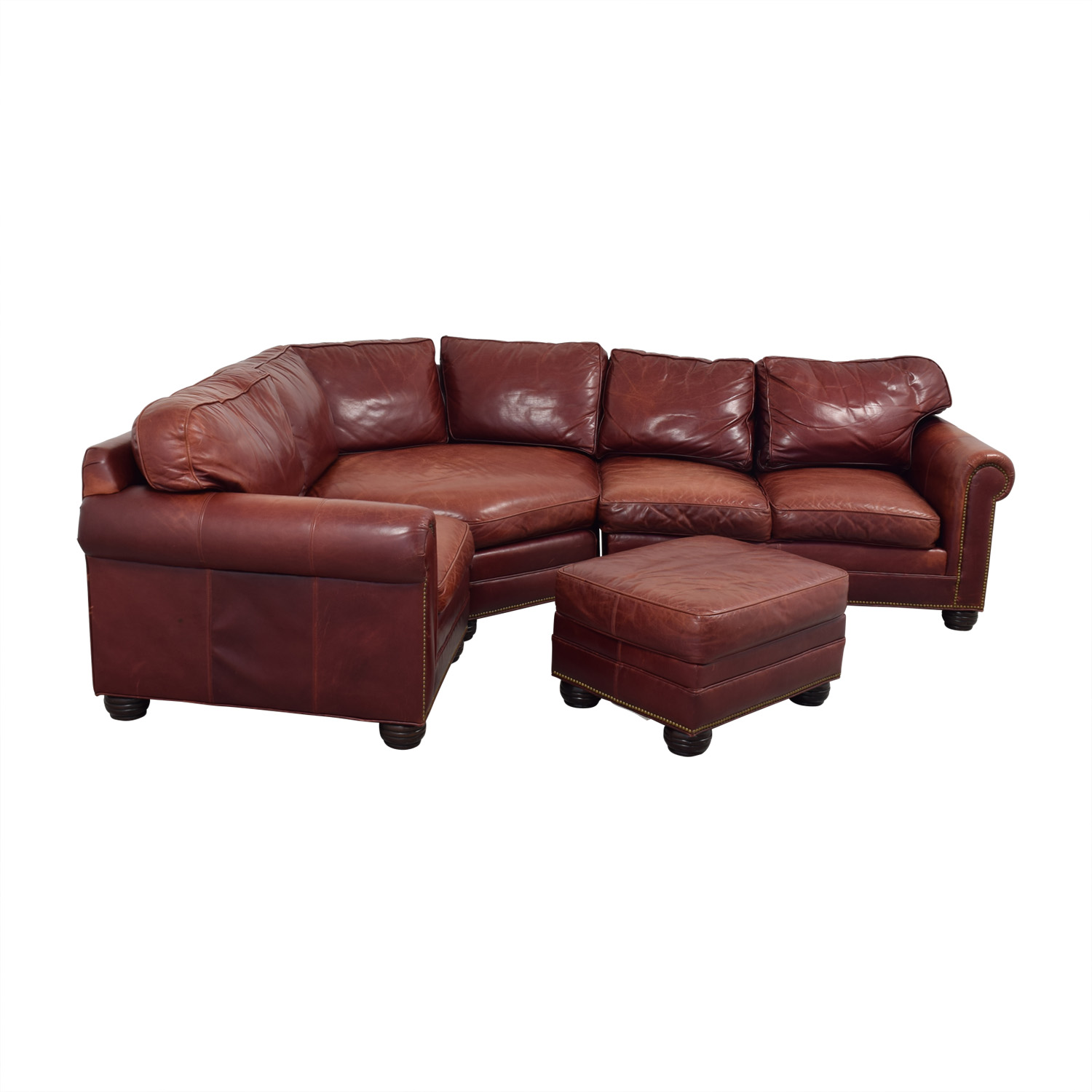 Zagaroli Classics Zagaroli Classics Oxblood Leather Sectional with Ottoman used