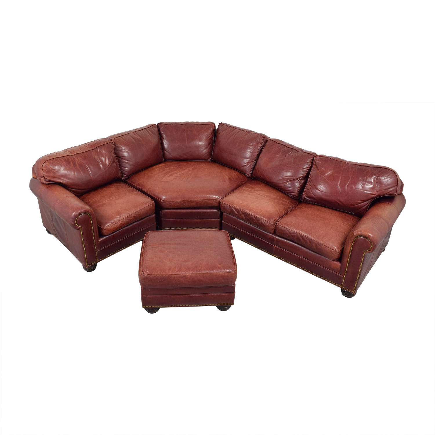 Zagaroli Classics Zagaroli Classics Oxblood Leather Sectional with Ottoman Sectionals