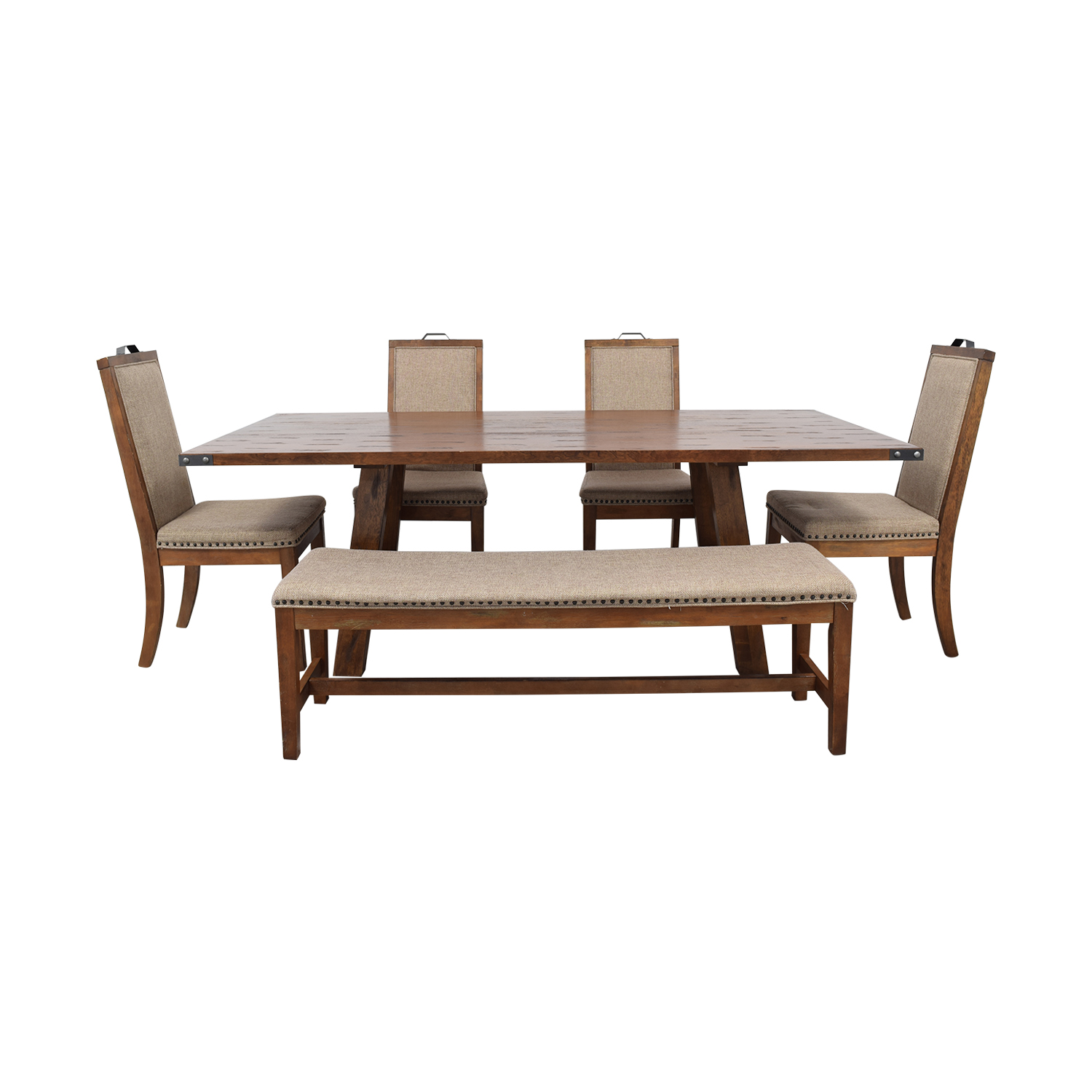 Coaster Fine Furniture Coaster Fine Furniture Wood Dining Set with Upholstered Bench and Chairs discount