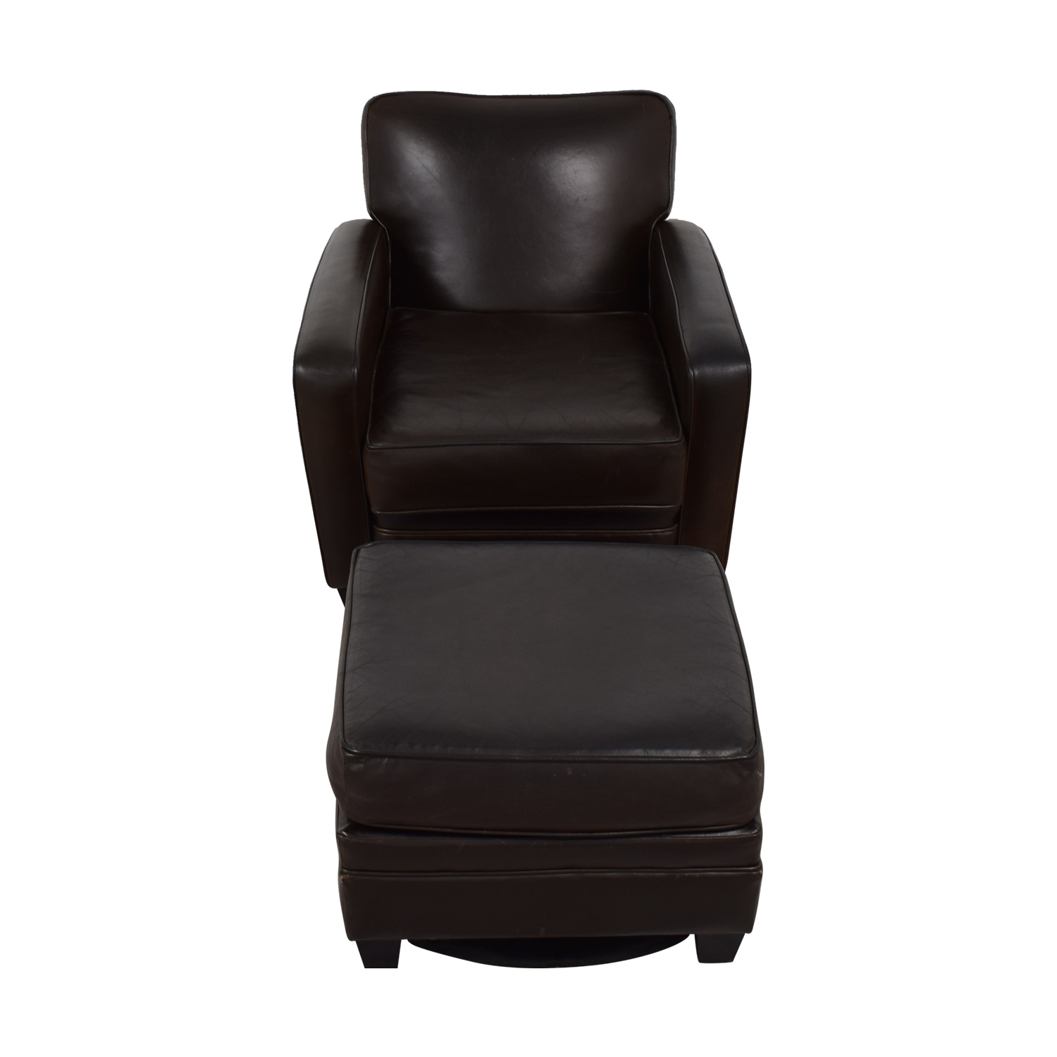 Incredible 86 Off Brown Leather Chair And Ottoman Chairs Machost Co Dining Chair Design Ideas Machostcouk