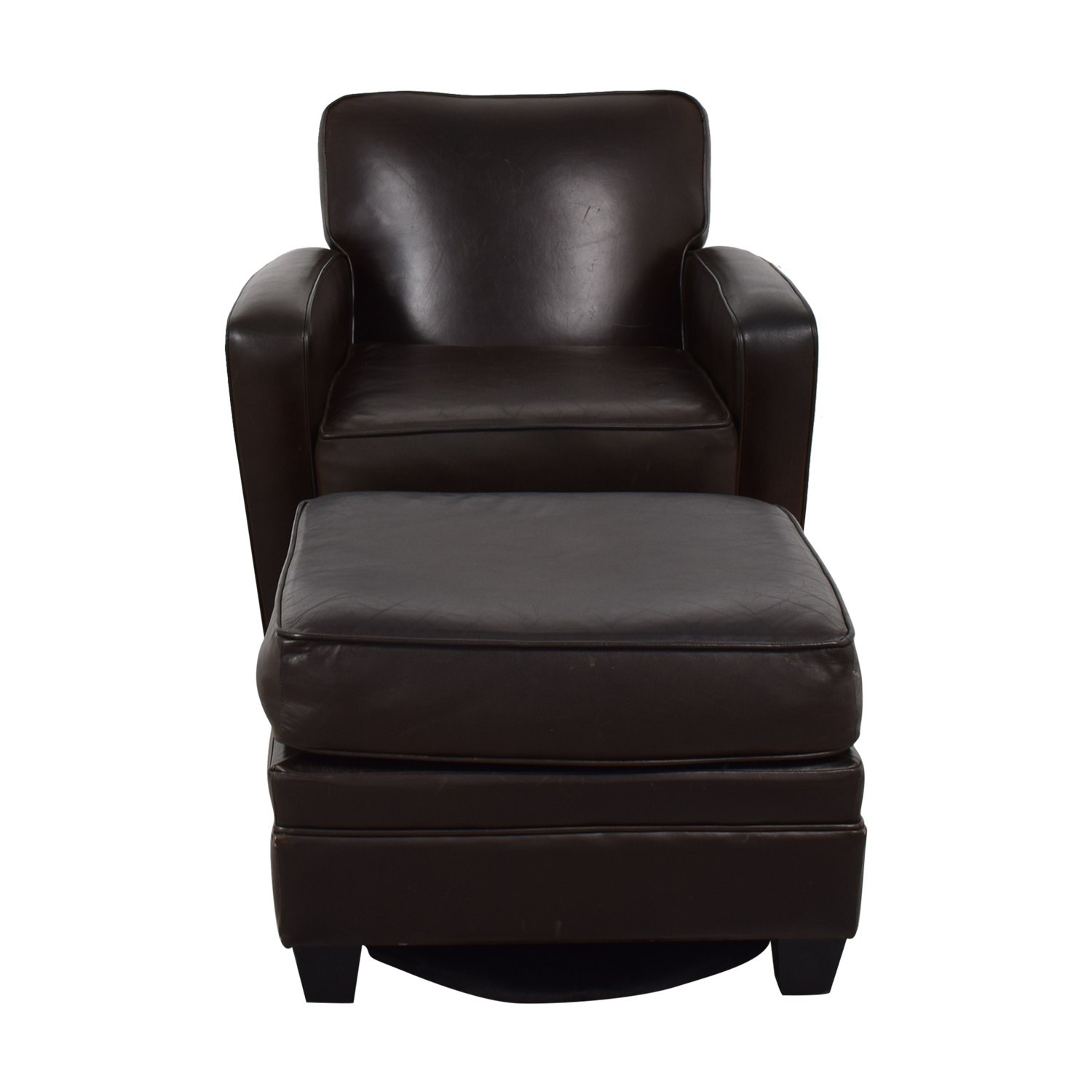 Brown Leather Chair and Ottoman nyc