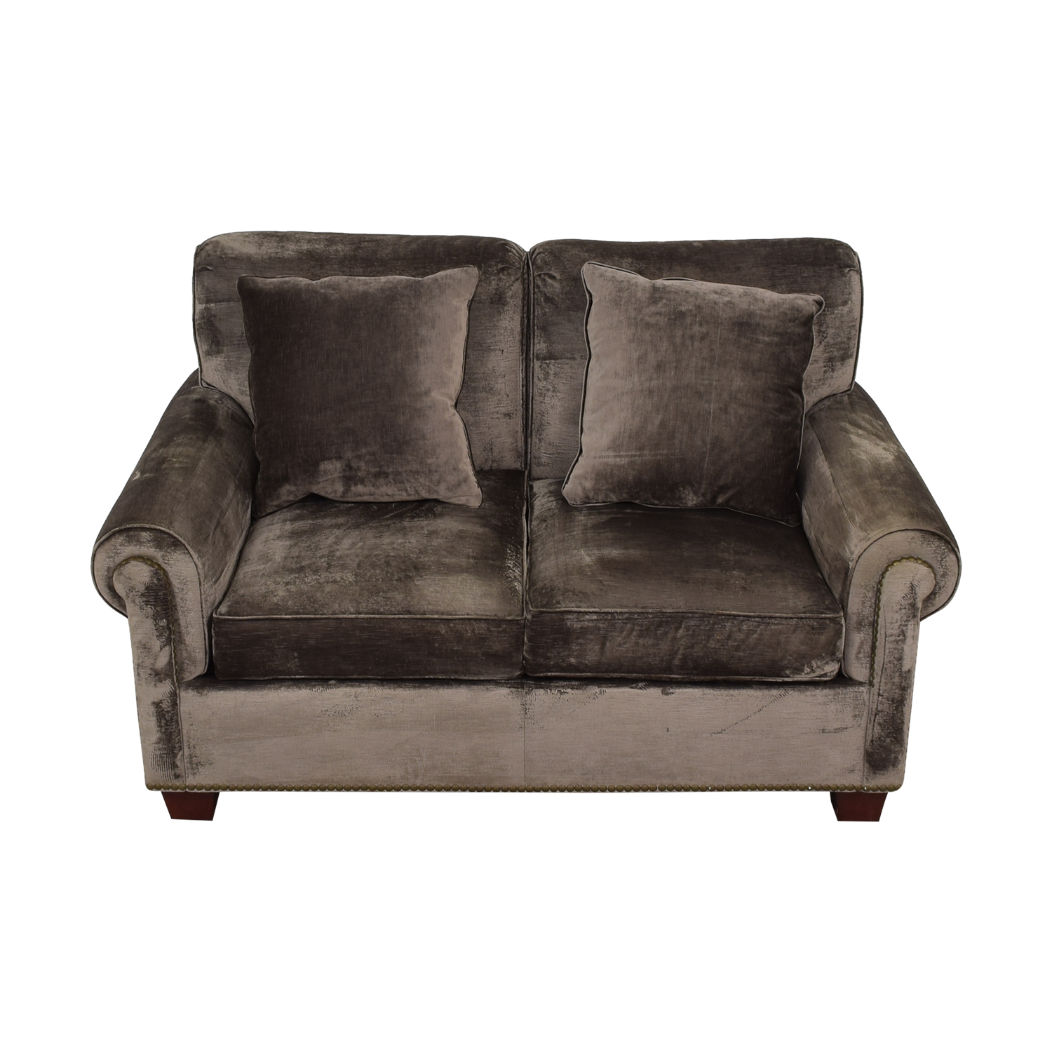 Grey Green Nailhead Loveseat second hand