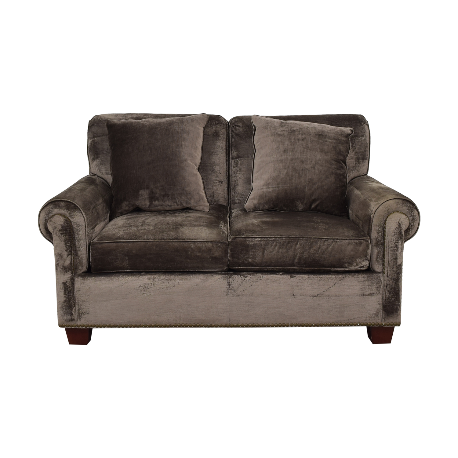 Grey Green Nailhead Loveseat / Sofas