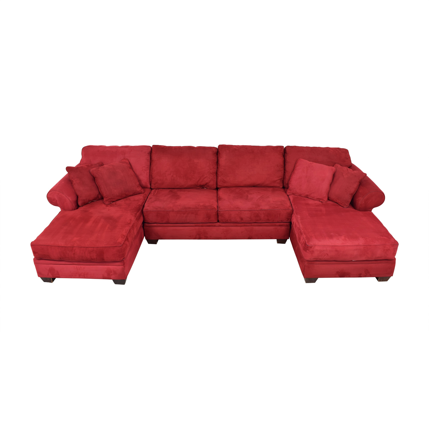 85% OFF - Macy\'s Macy\'s U-Shaped Red Double Chaise Sectional / Sofas