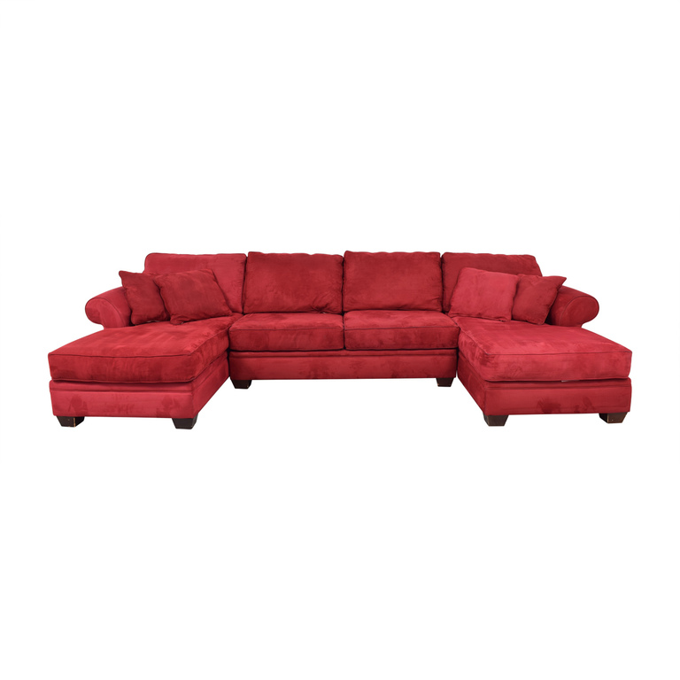 Macy's Macy's U-Shaped Red Double Chaise Sectional price