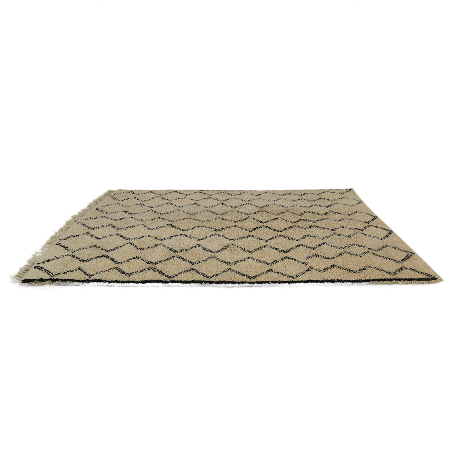 Ben Ourian Ben Ourian Vintage Beige and Black Moroccan Rug for sale