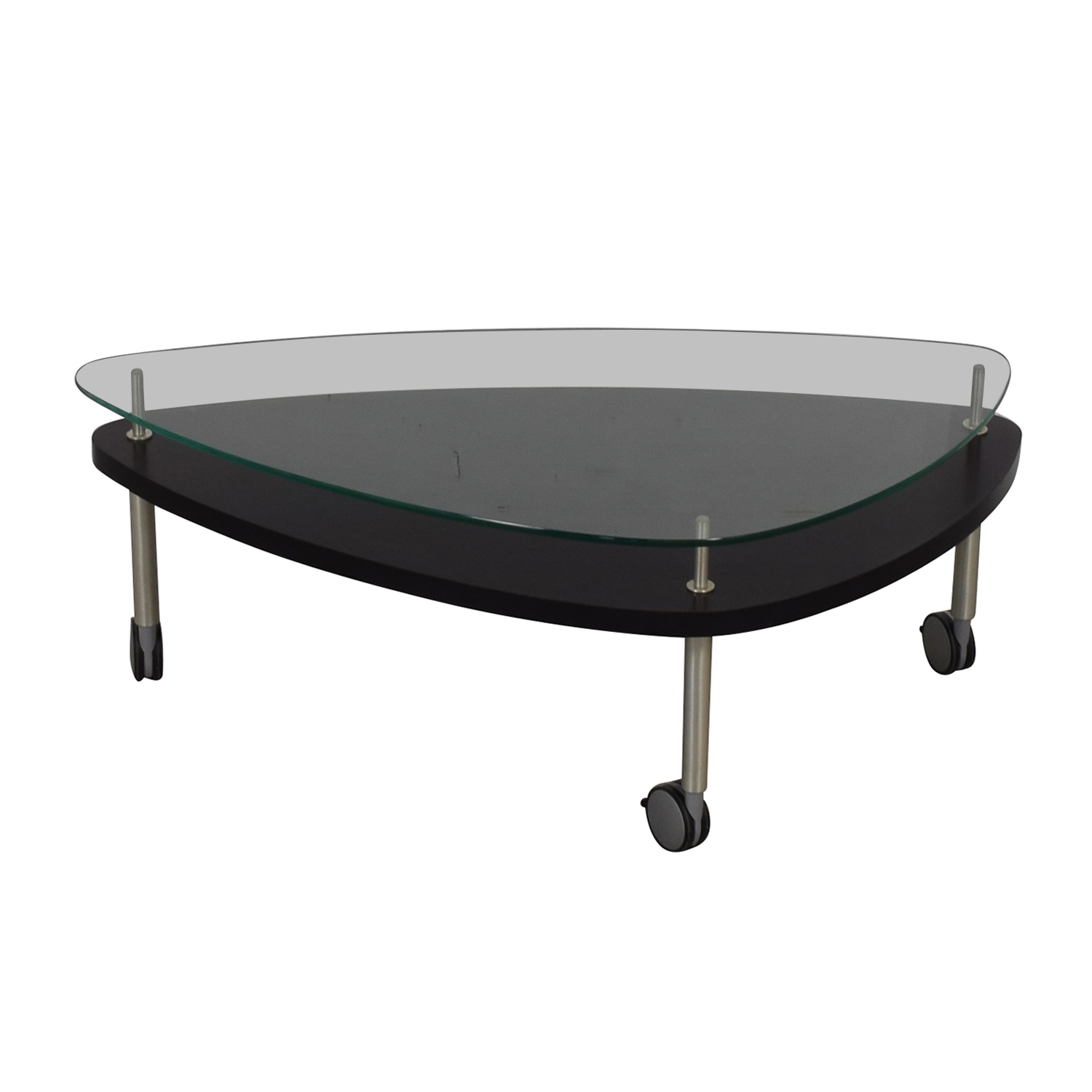 Glass and Wood Coffee Table on Castors on sale