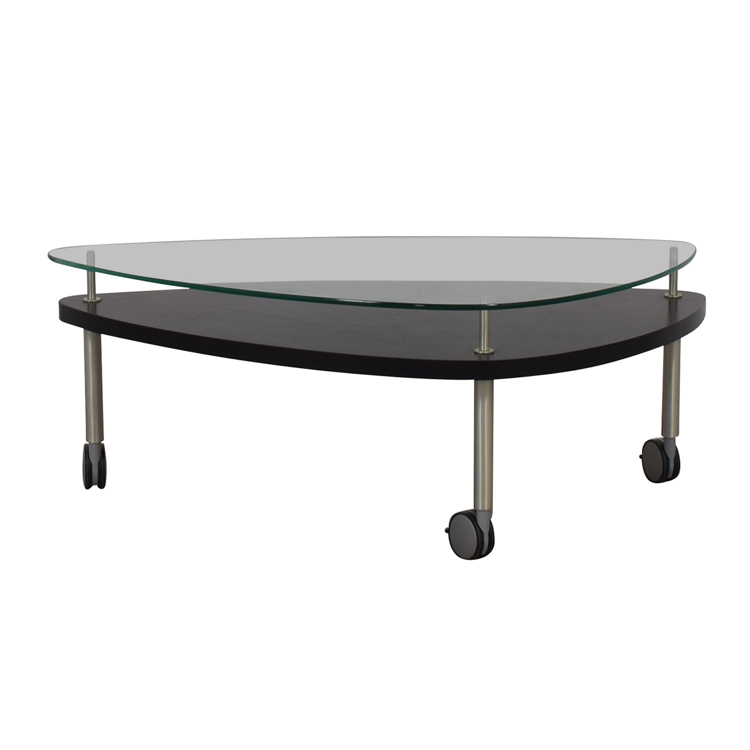 Glass and Wood Coffee Table on Castors dimensions