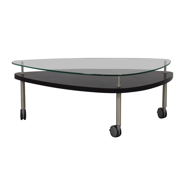 Glass and Wood Coffee Table on Castors discount