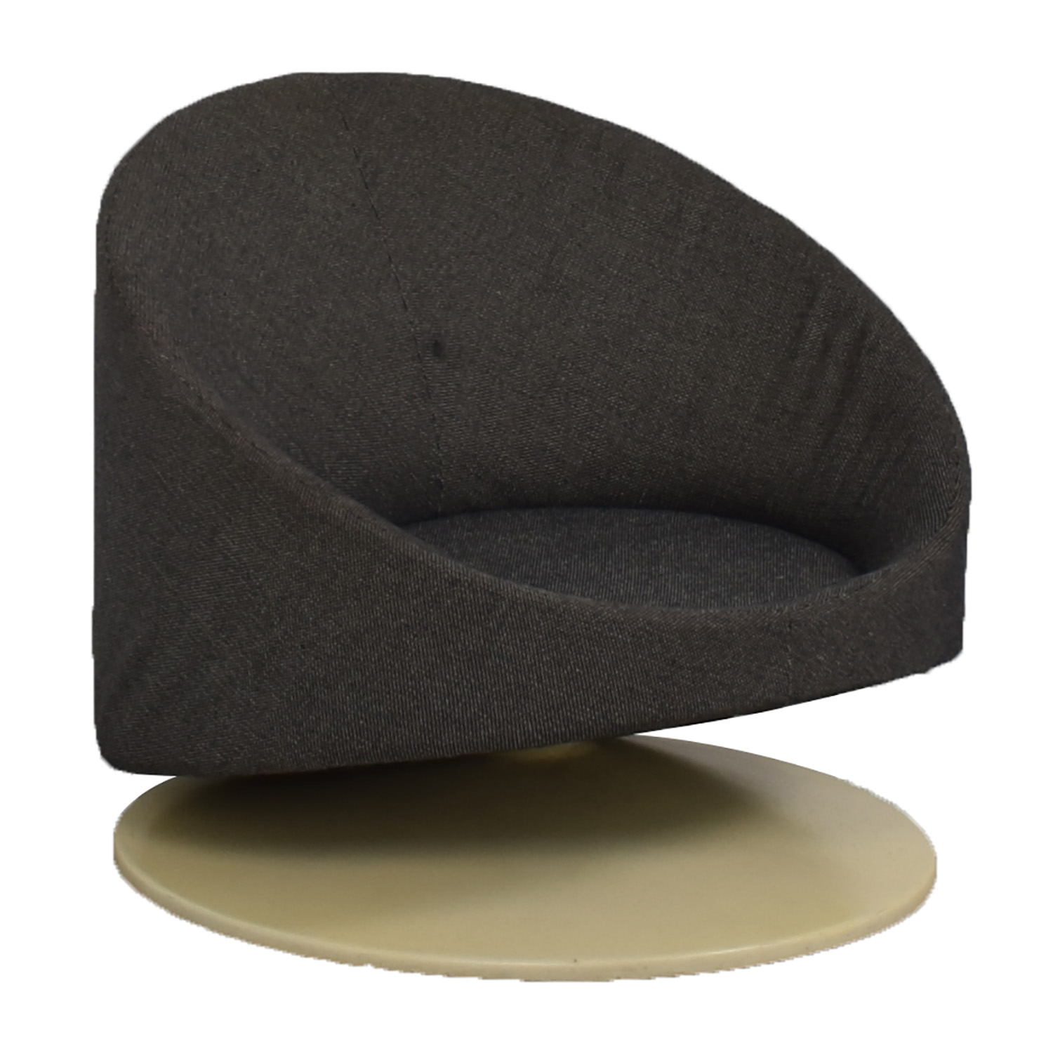 Mid Century Black Tweed Bowl Accent Chair Chairs