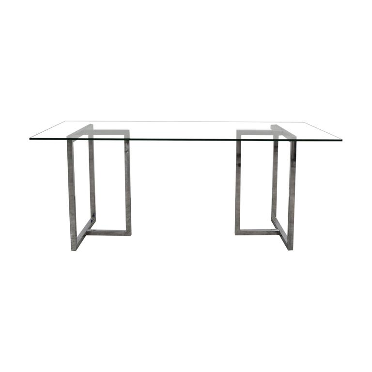 CB2 CB2 Glass and Chrome Table nj