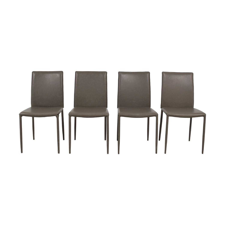Safavieh Safavieh Grey Leather Chairs Chairs