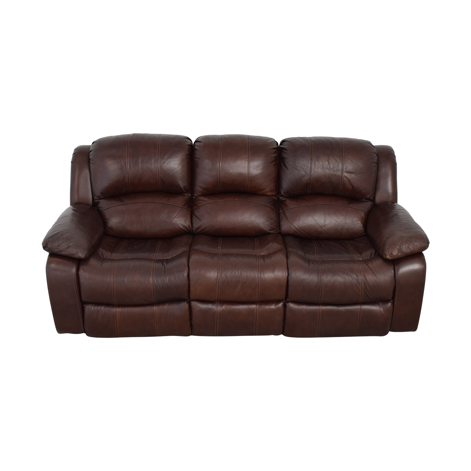 Raymour & Flanigan Raymour & Flanigan Brown Leather Reclining Sofa dimensions