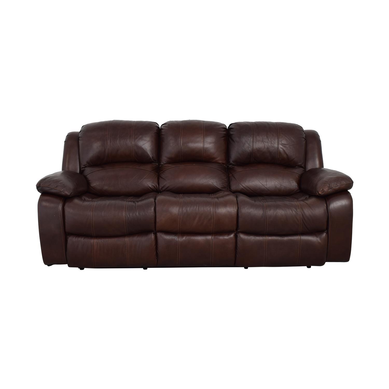 Raymour & Flanigan Brown Leather Reclining Sofa / Sofas