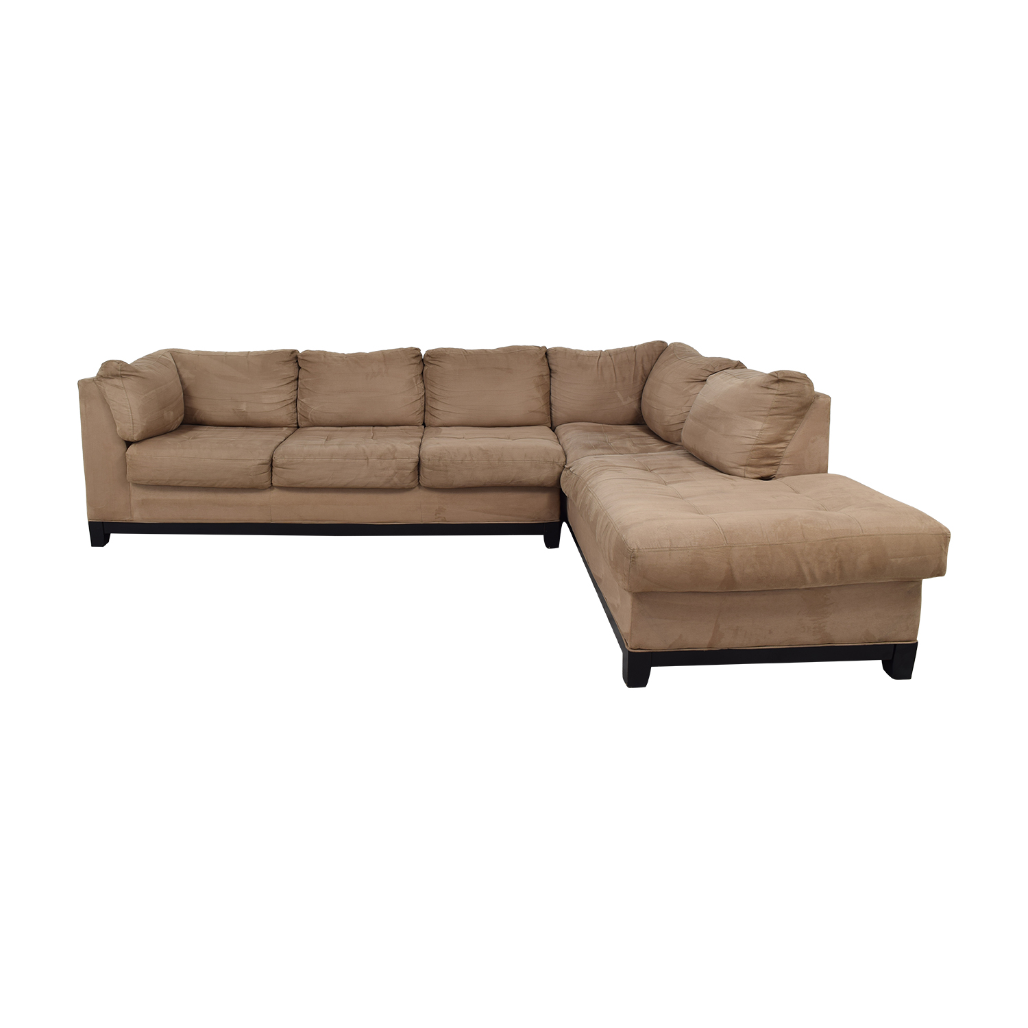 Raymour & Flanigan Grey Microfiber L- Shaped Sectional on sale