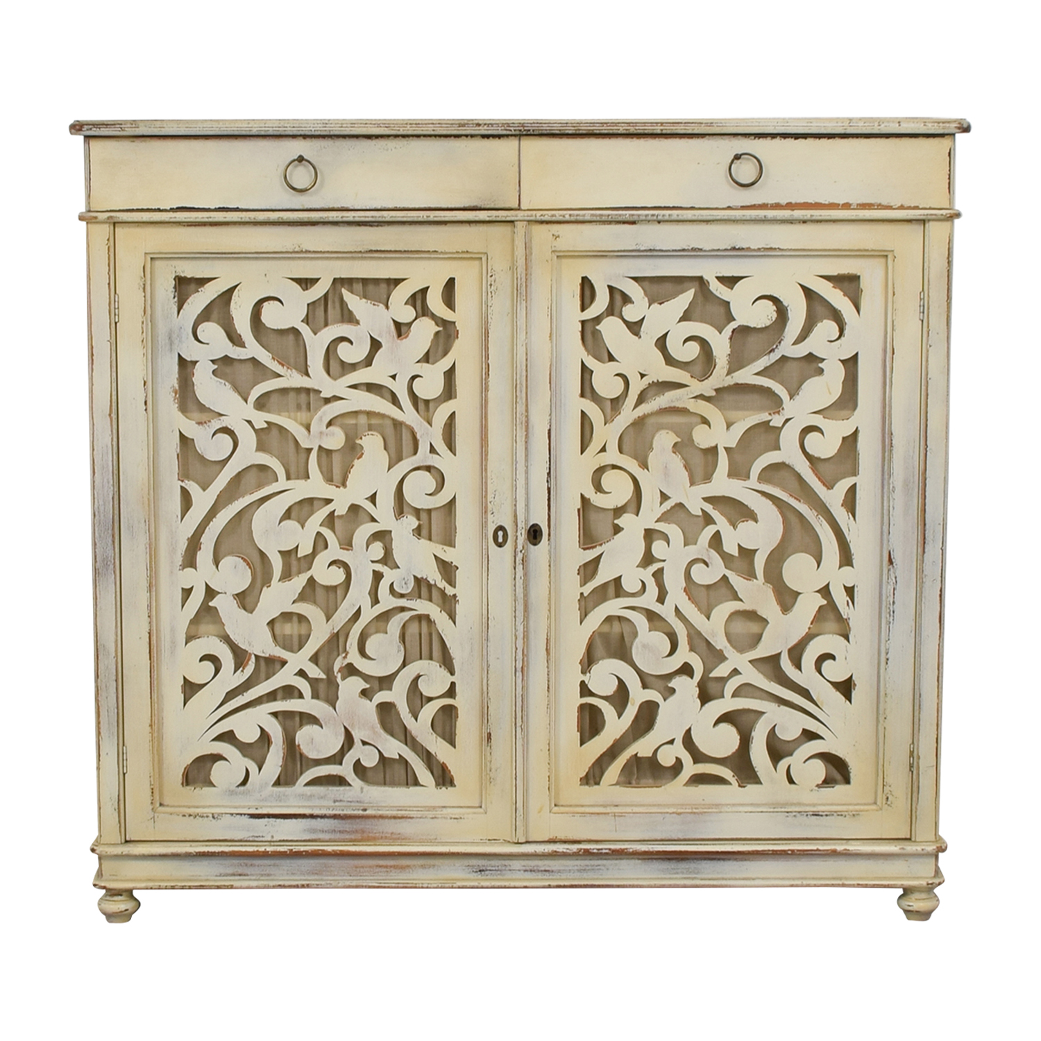 Buying & Design Buying & Design Antique Distressed White Cabinet for sale