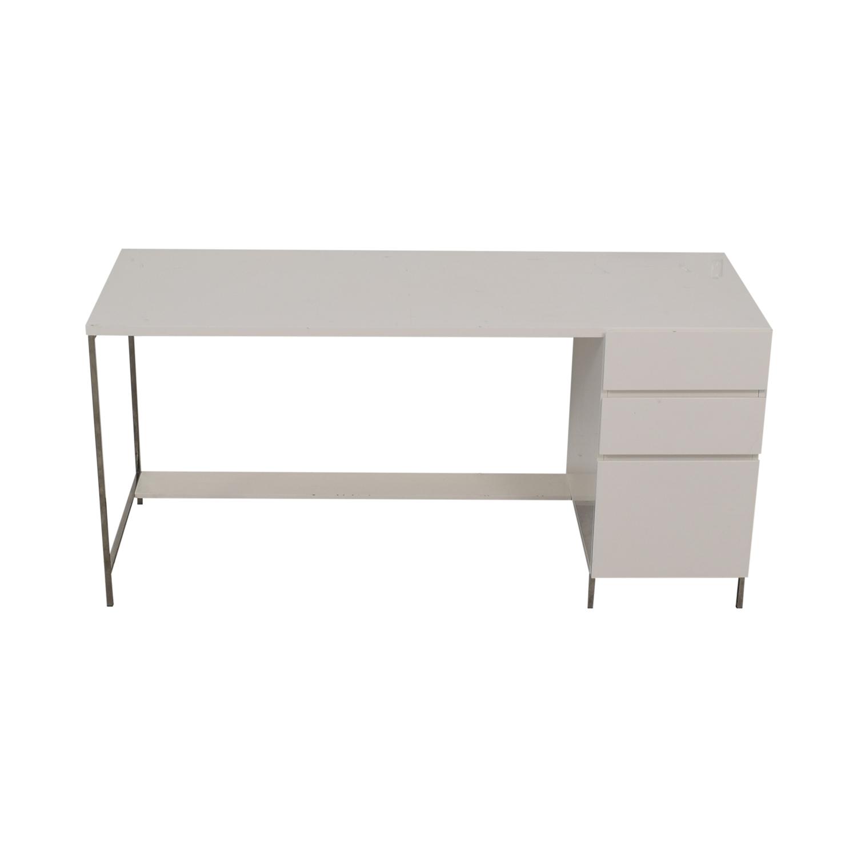 West Elm West Elm White Three-Drawer Desk on sale