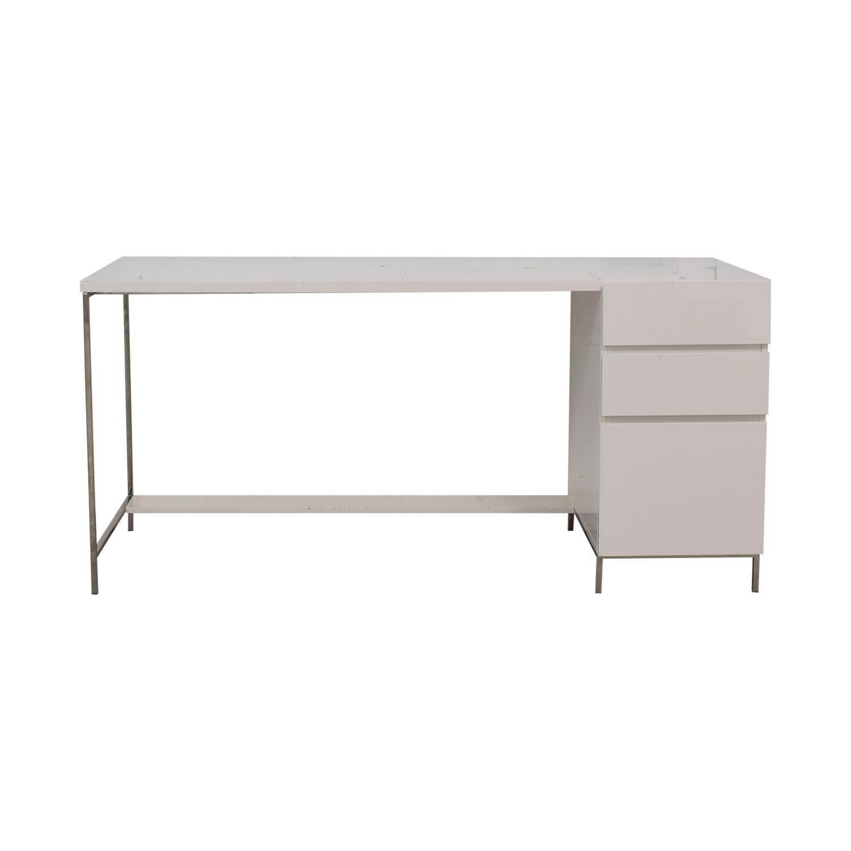 West Elm White Three-Drawer Desk sale