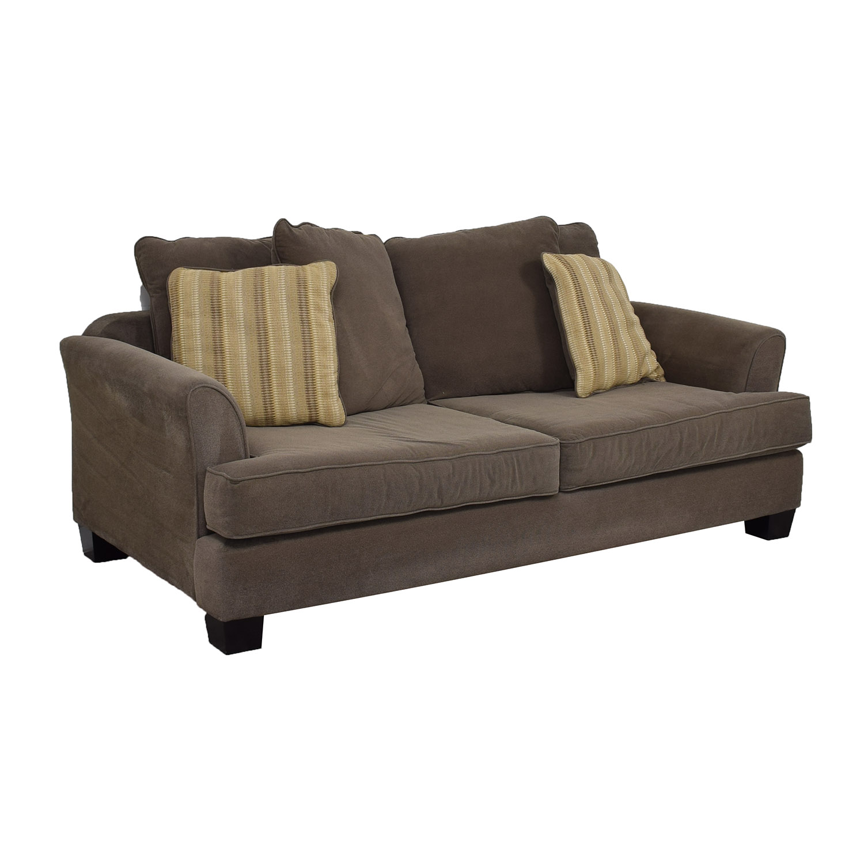 Raymour & Flanigan Raymour & Flanigan Kathy Ireland Brown Two-Cushion Sofa nyc