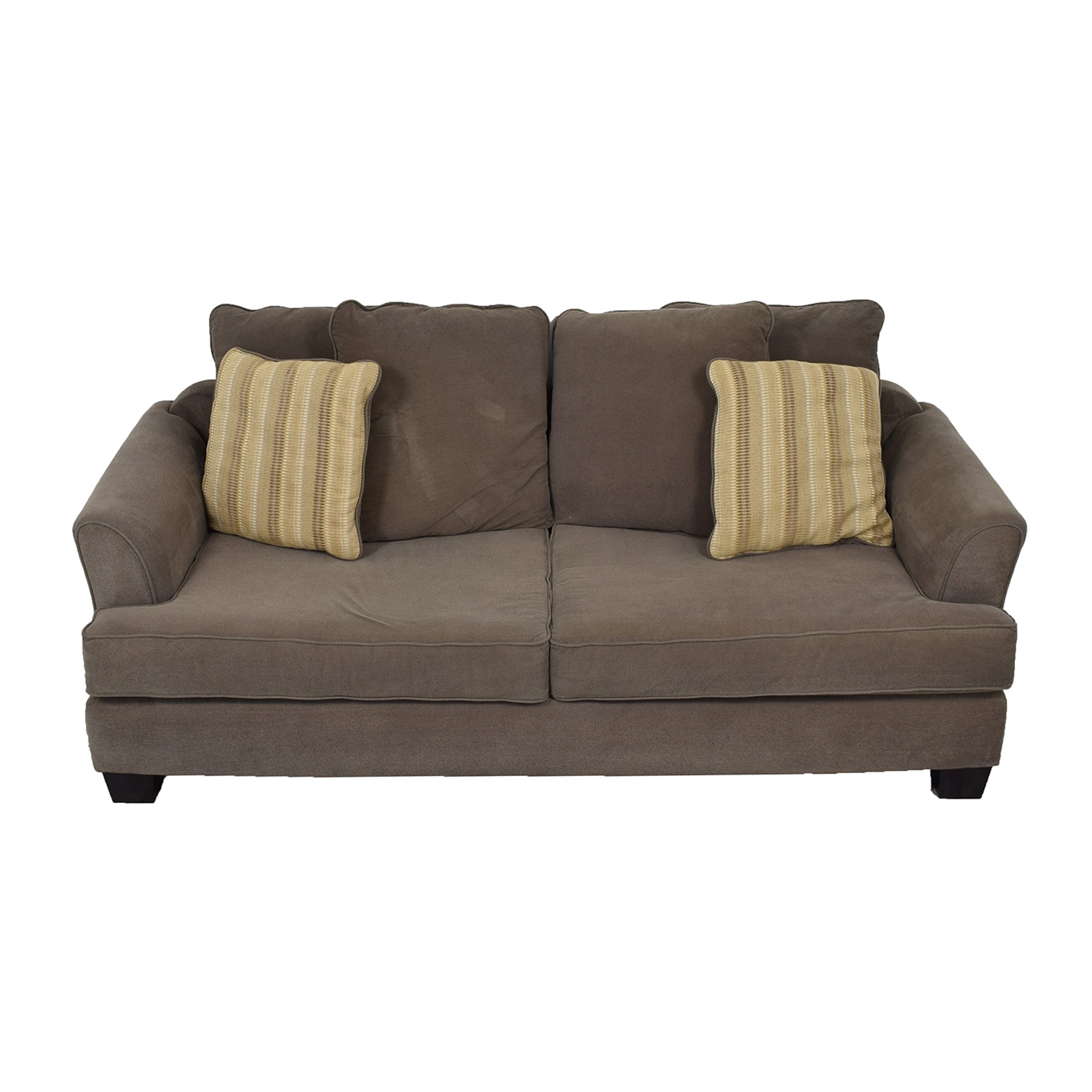 buy Raymour & Flanigan Kathy Ireland Brown Two-Cushion Sofa Raymour & Flanigan Classic Sofas
