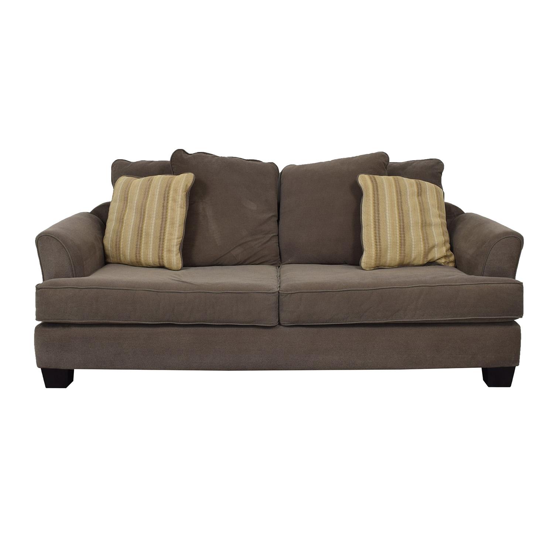 Raymour & Flanigan Raymour & Flanigan Kathy Ireland Brown Two-Cushion Sofa light brown