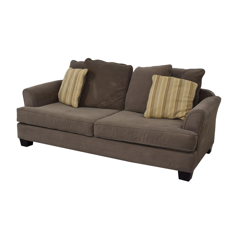 Raymour & Flanigan Raymour & Flanigan Kathy Ireland Brown Two-Cushion Sofa price