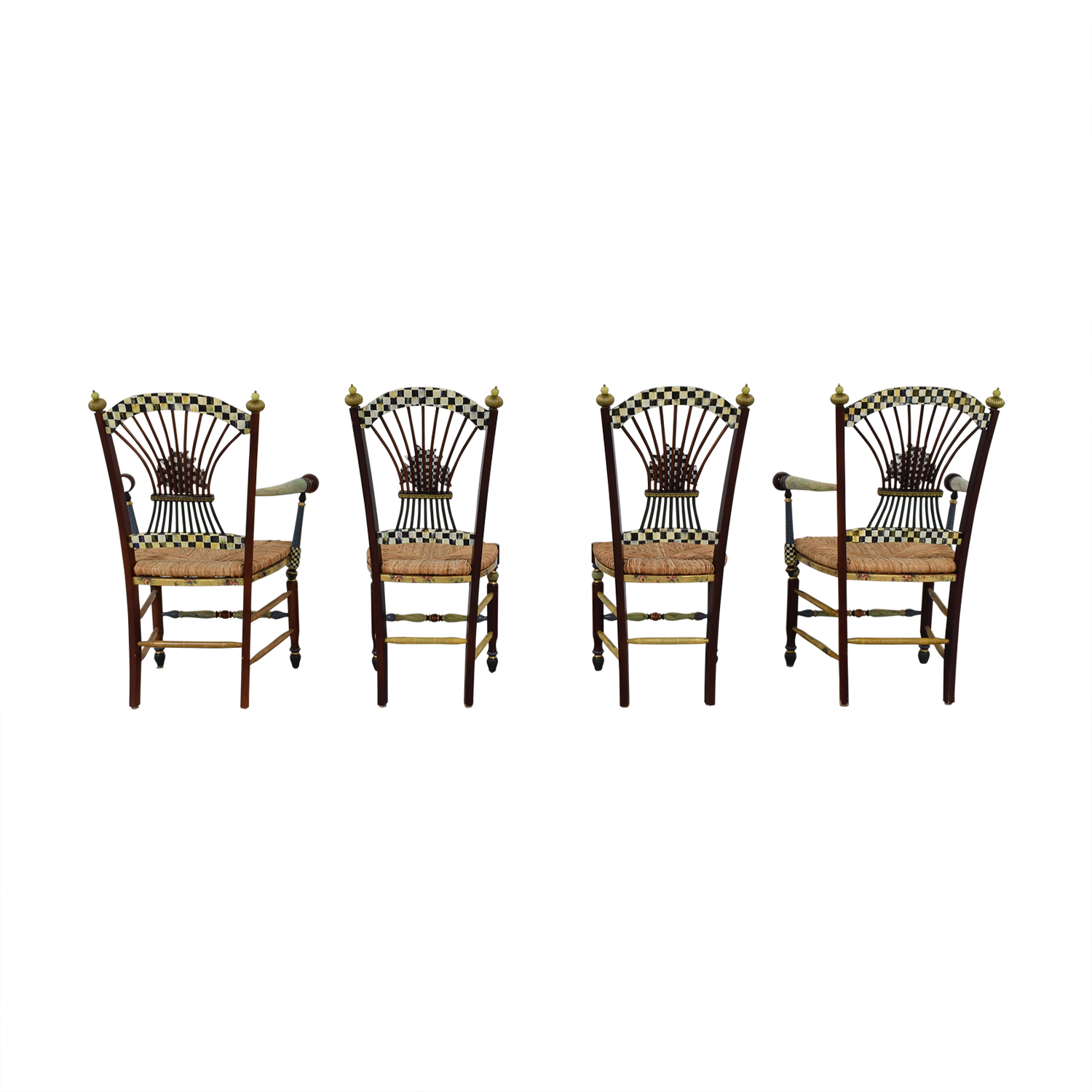 buy MacKenzie-Childs Multi-Colored Wicker Dining Chairs MacKenzie-Childs Accent Chairs
