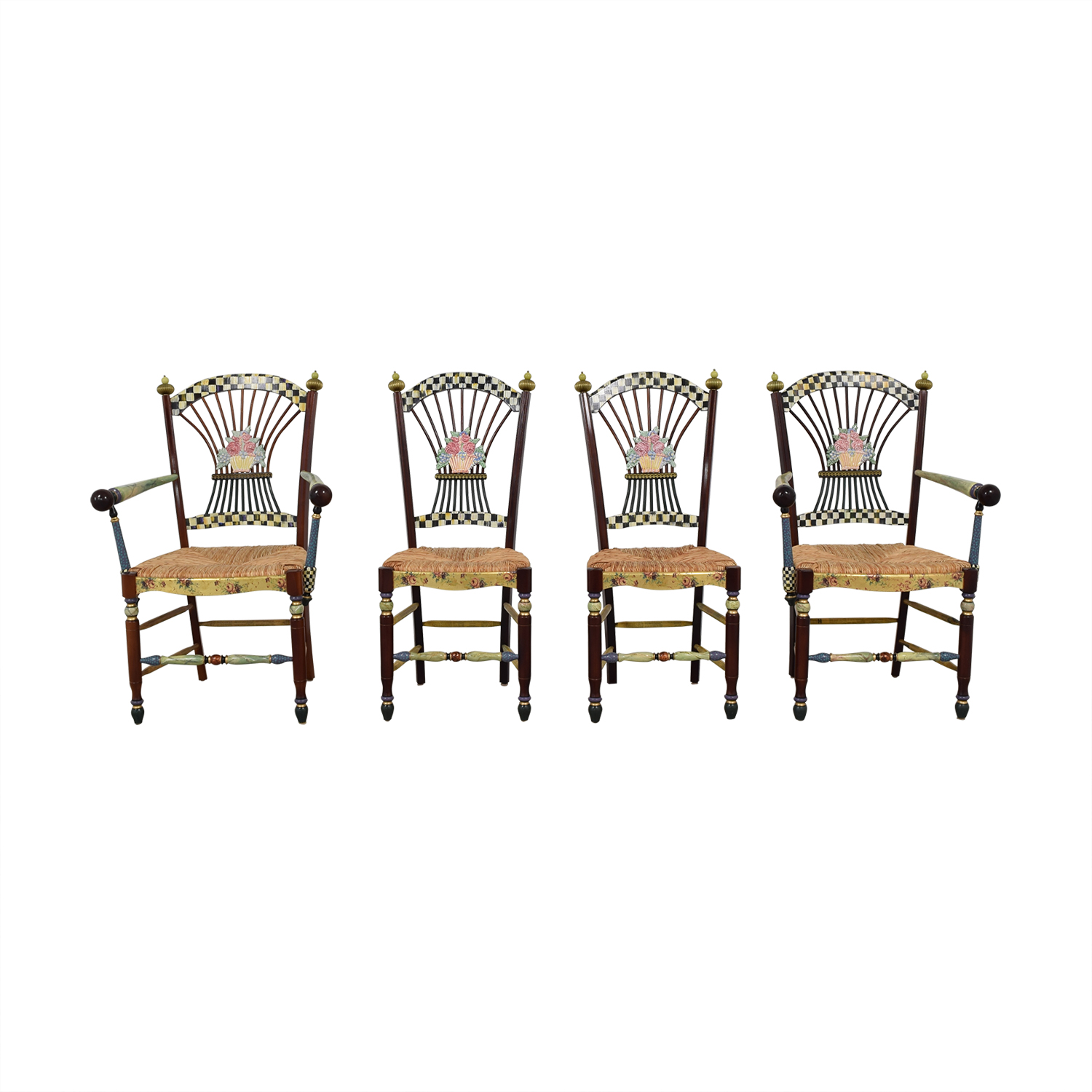 MacKenzie-Childs MacKenzie-Childs Multi-Colored Wicker Dining Chairs discount
