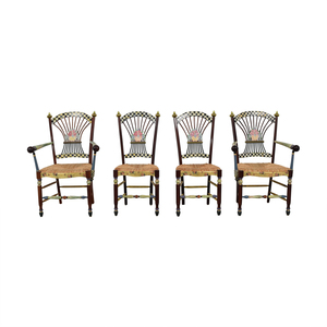 buy MacKenzie-Childs Multi-Colored Wicker Dining Chairs MacKenzie-Childs