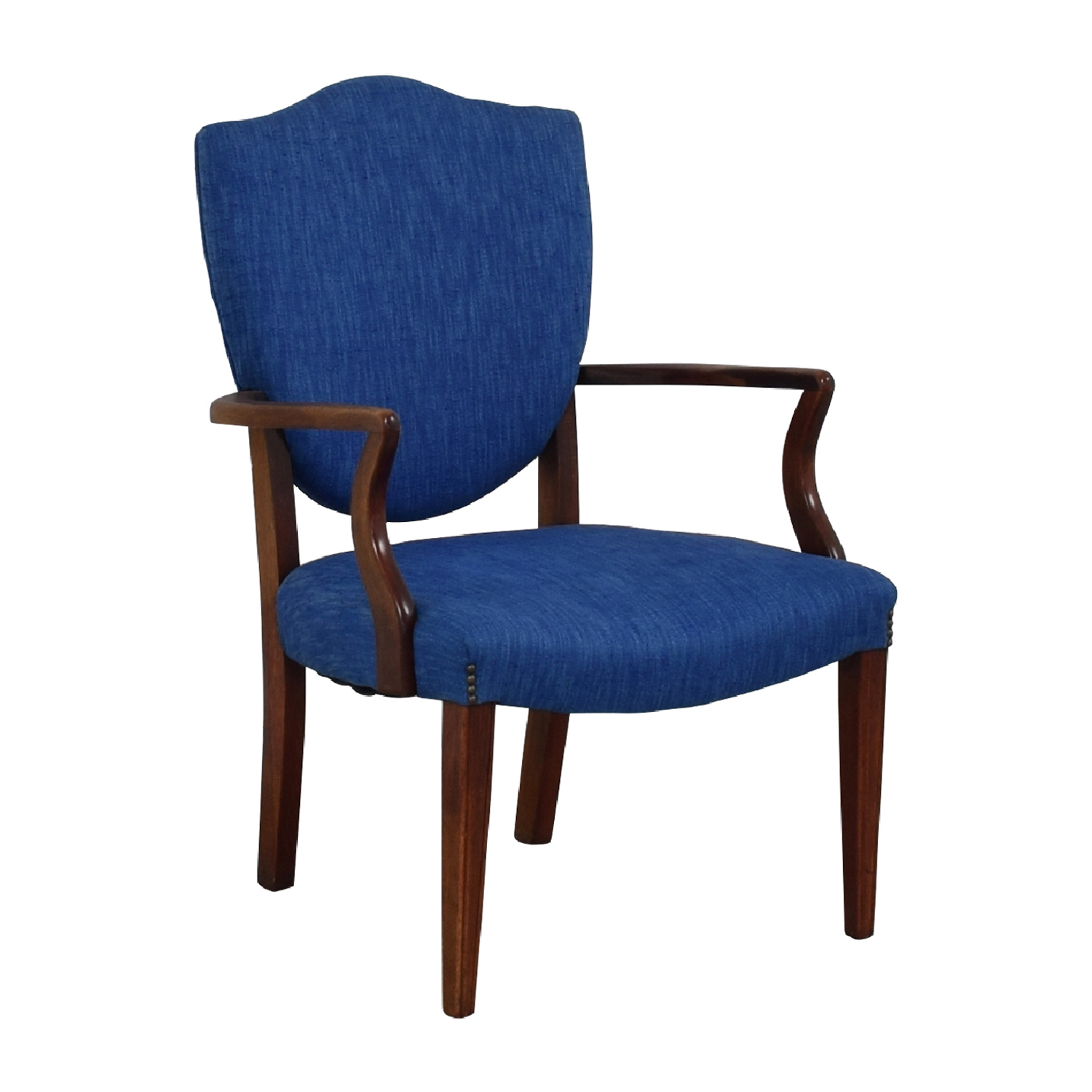 ... shop Antique Wood and Blue Upholstered Arm Chair ... - 64% OFF - Antique Wood And Blue Upholstered Arm Chair / Chairs
