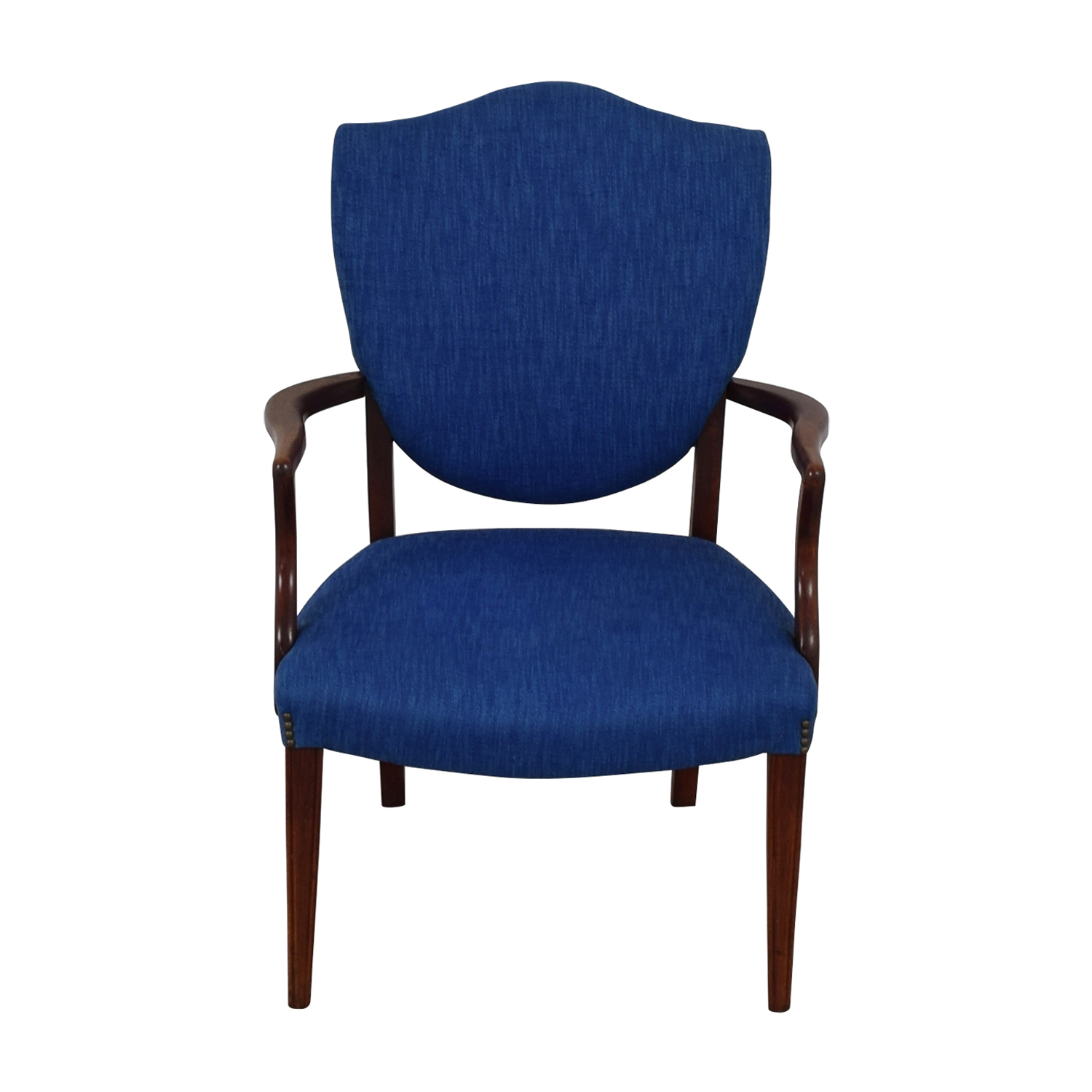 buy Antique Wood and Blue Upholstered Arm Chair  Accent Chairs