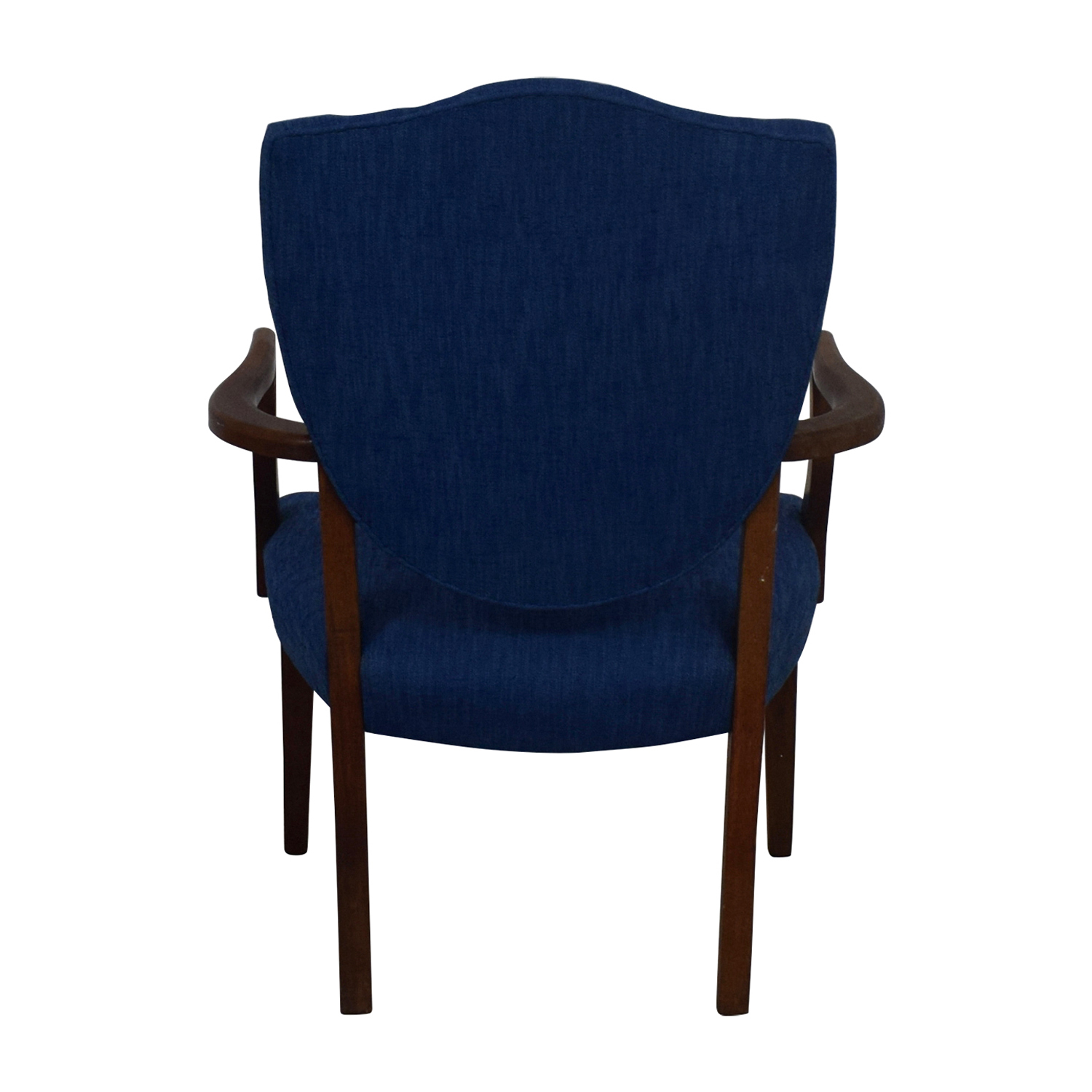 Antique Wood and Blue Upholstered Arm Chair