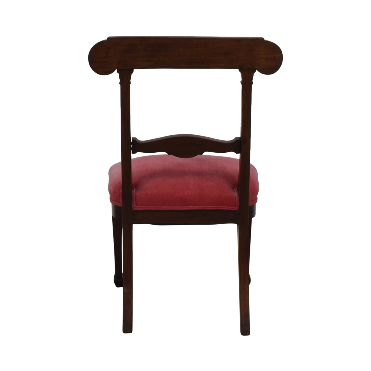 Antique Wood and Red Upholstered Accent Chair sale