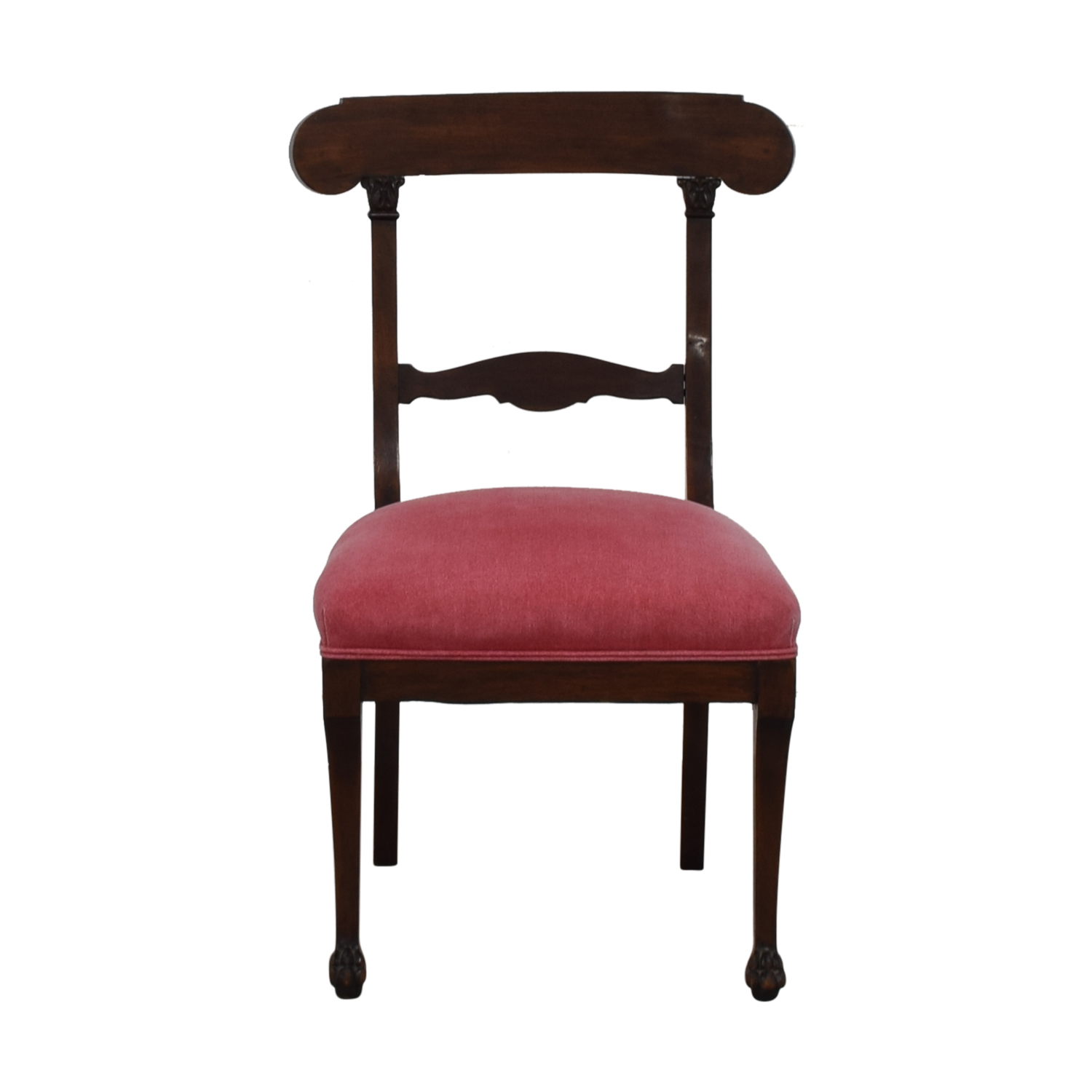 Antique Wood and Red Upholstered Accent Chair / Accent Chairs