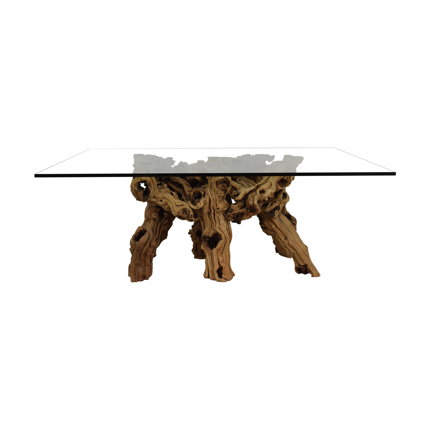 Jayson Home Jayson Home Glass and Natural Wood Dining Table second hand