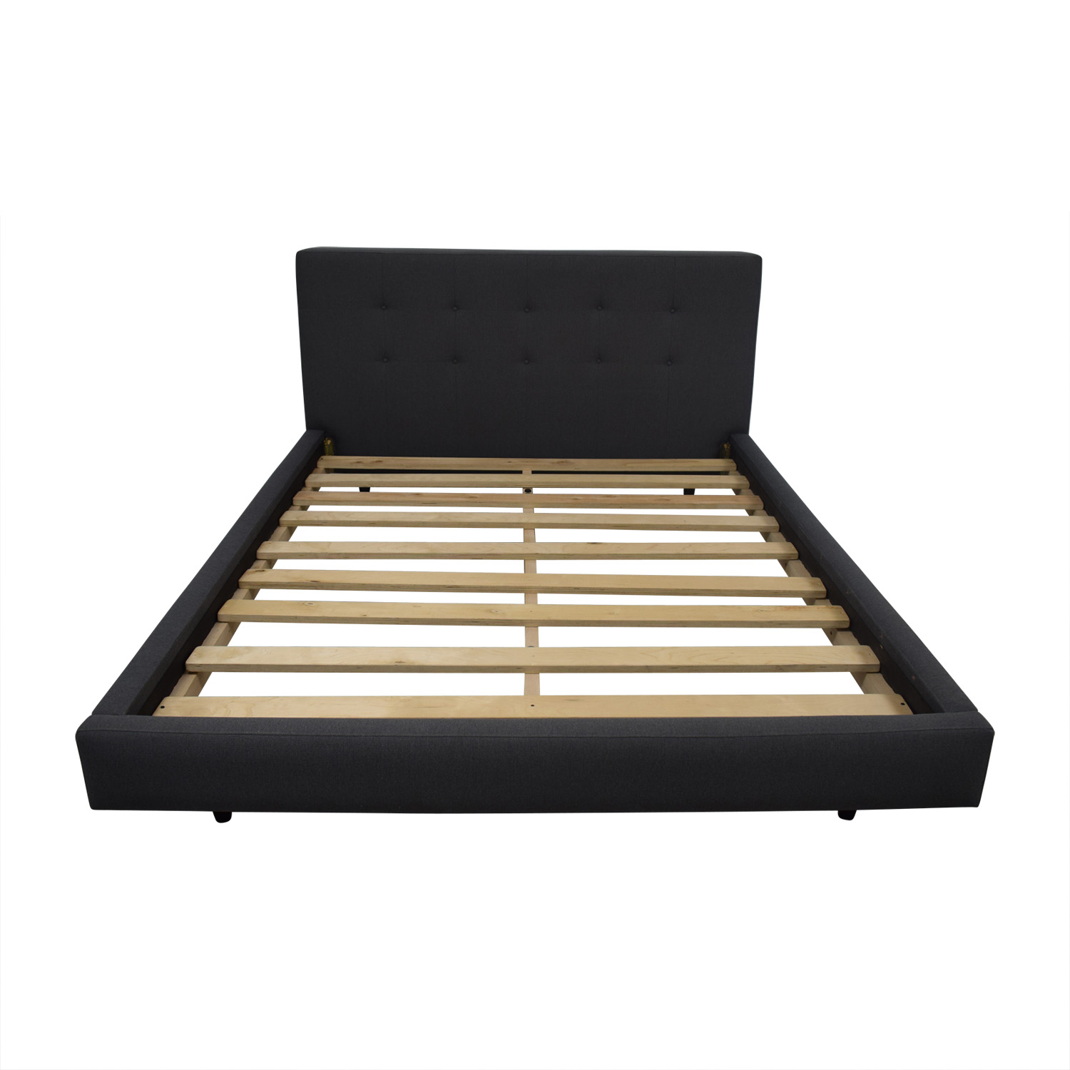 buy Crate & Barrel Crate & Barrel Tate Grey Upholstered Platform Queen Bed Frame online