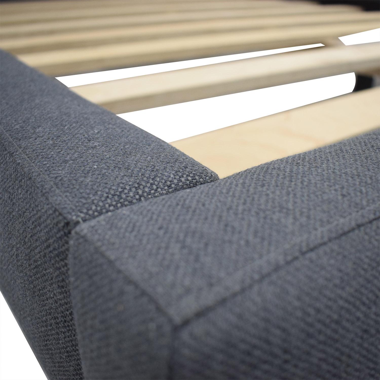 shop Crate & Barrel Tate Grey Upholstered Platform Queen Bed Frame Crate & Barrel Beds