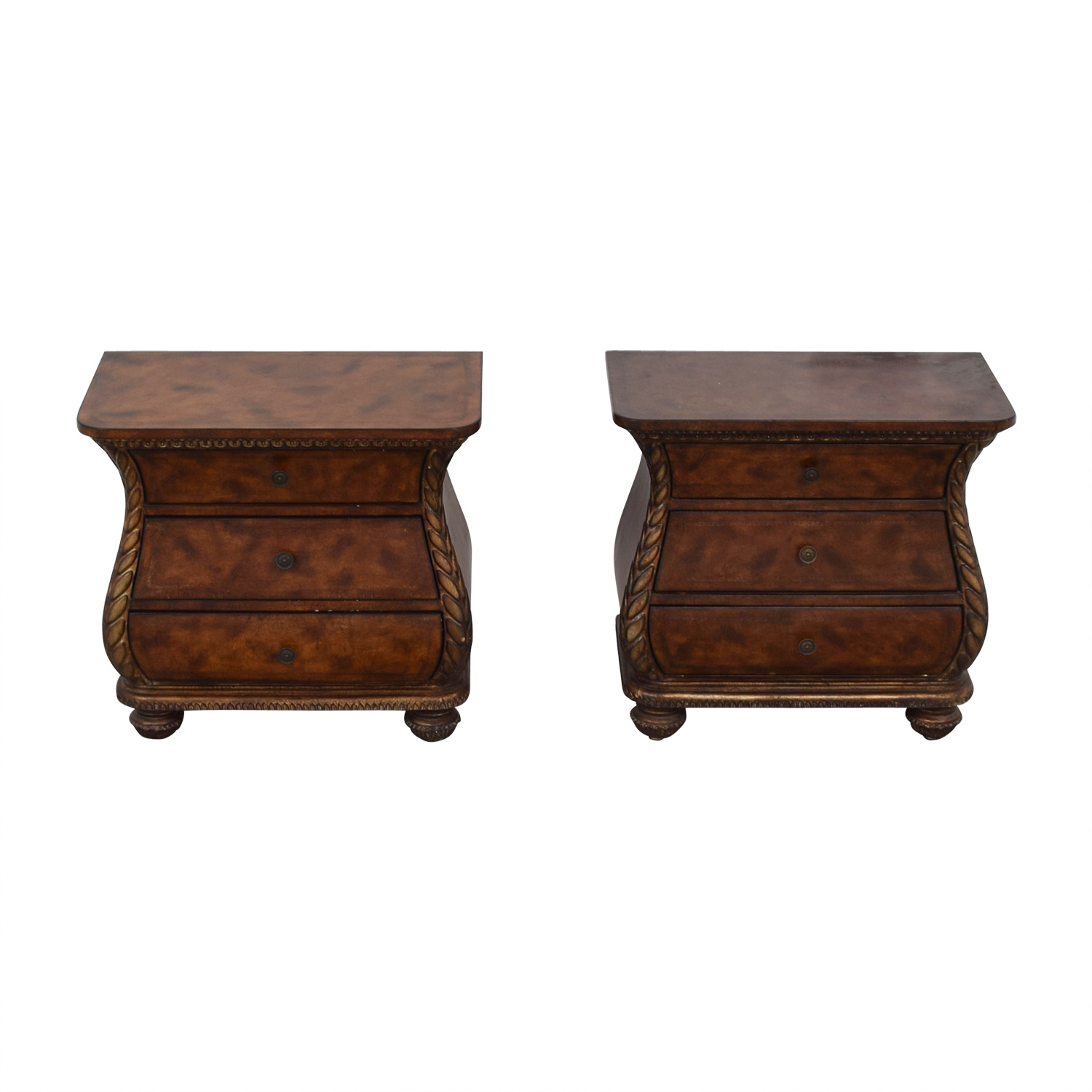 Bombay Style Three-Drawer End Tables / Tables