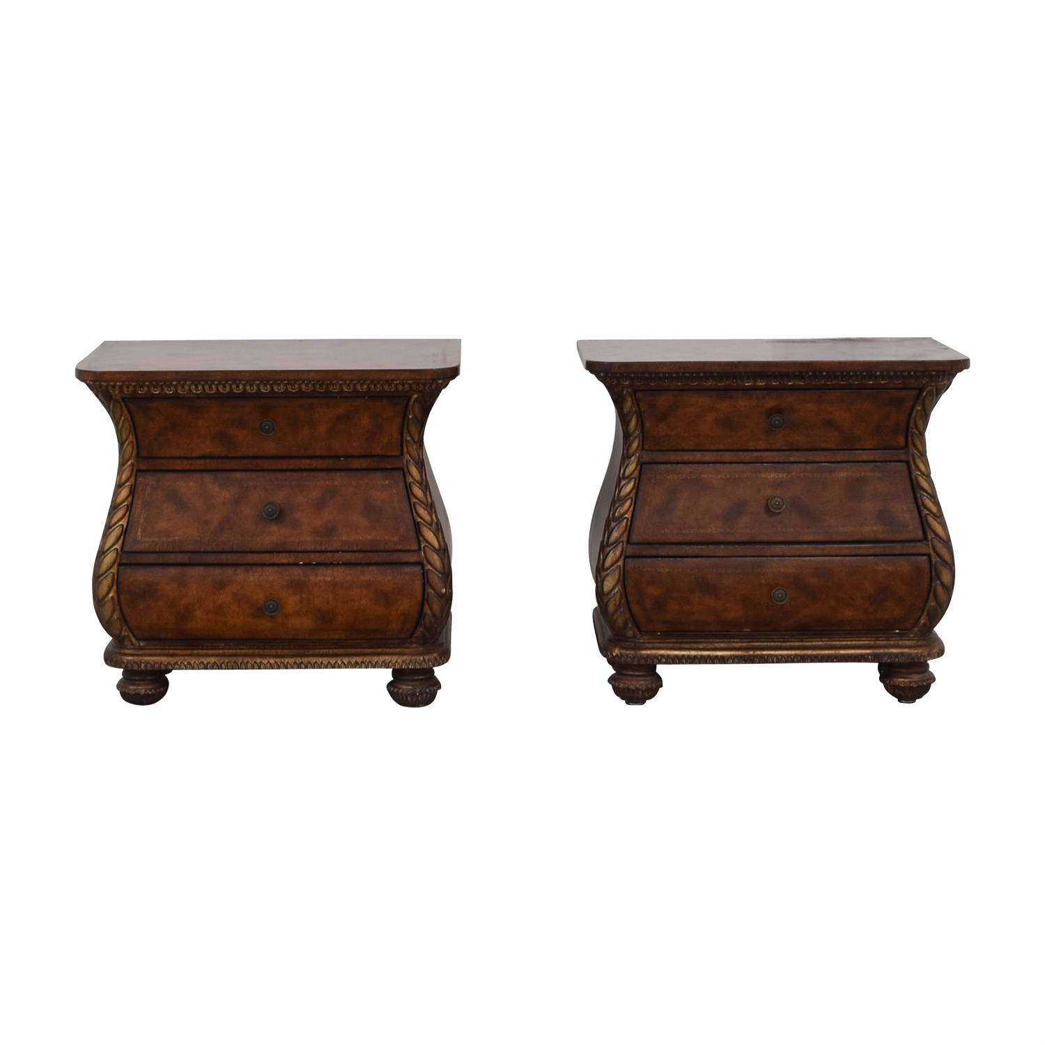 Bombay Style Three-Drawer End Tables second hand