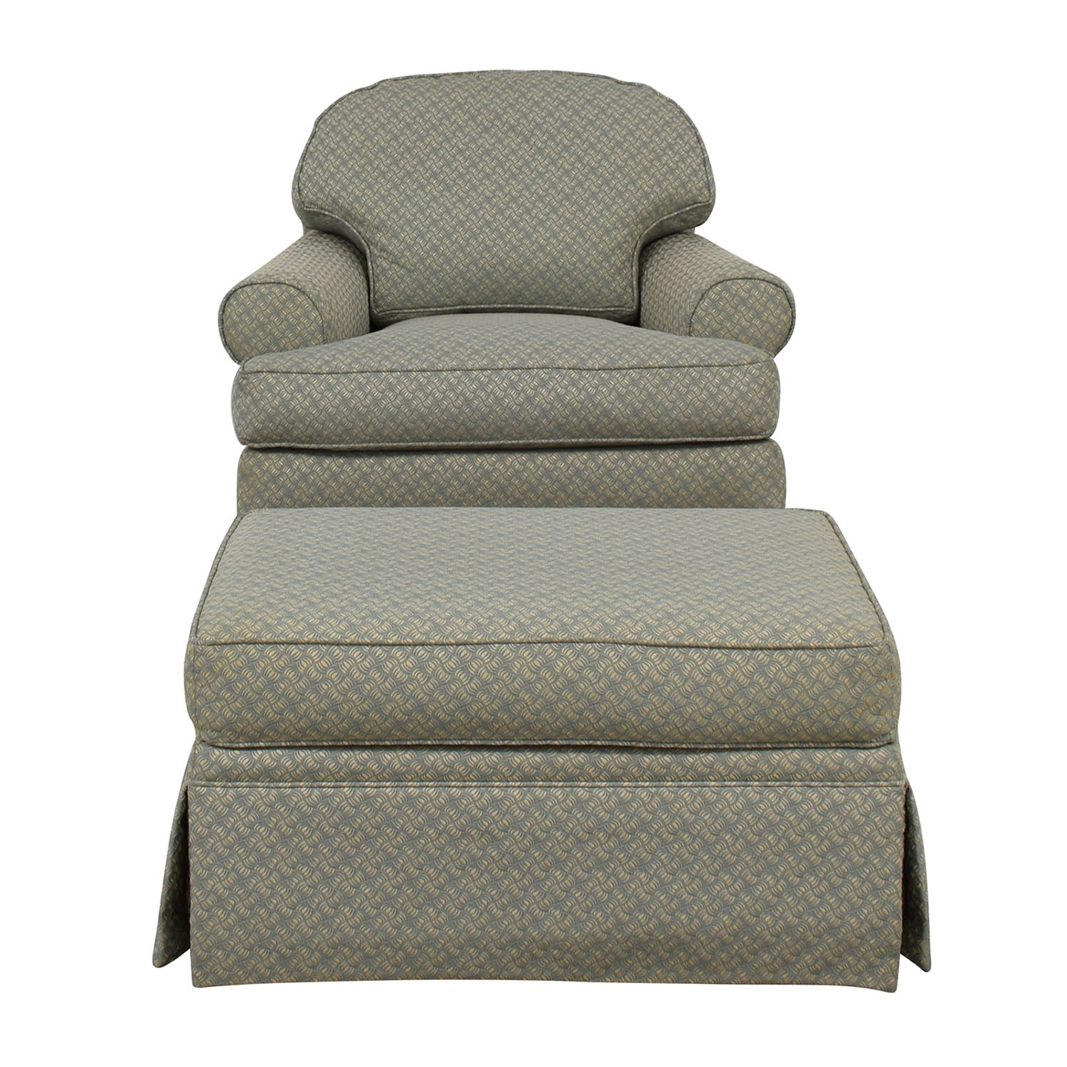 Ethan Allen Sea Green Swivel Rocker with Ottoman Ethan Allen