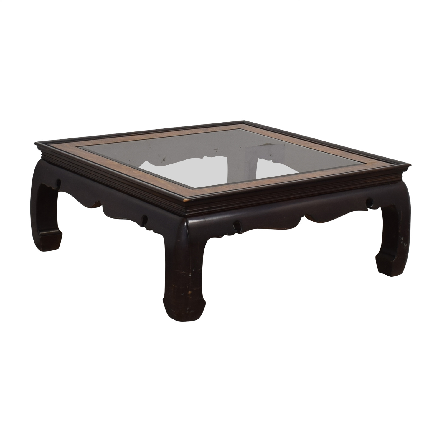 90% OFF   Square Glass And Wood Coffee Table / Tables