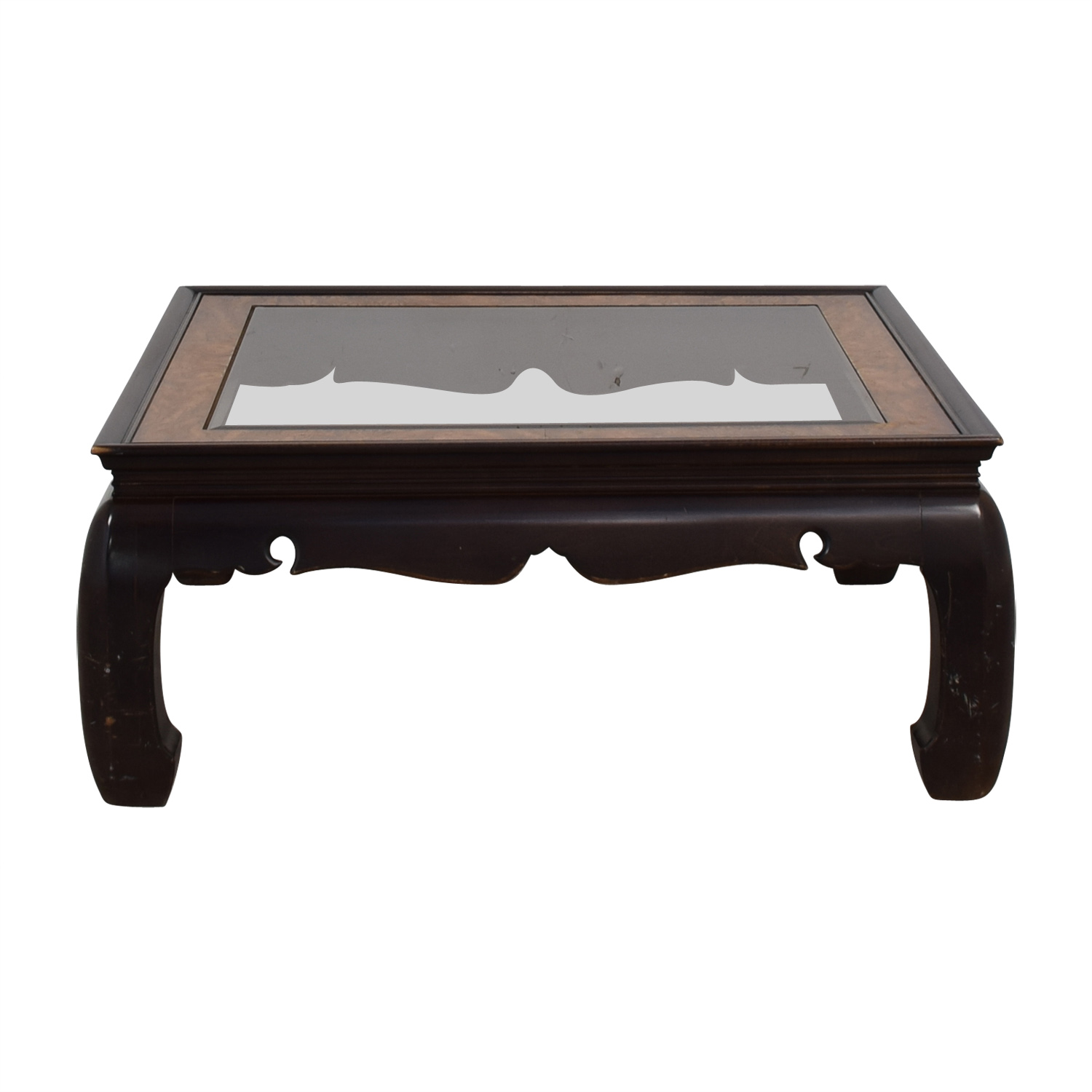 Square Glass and Wood Coffee Table for sale