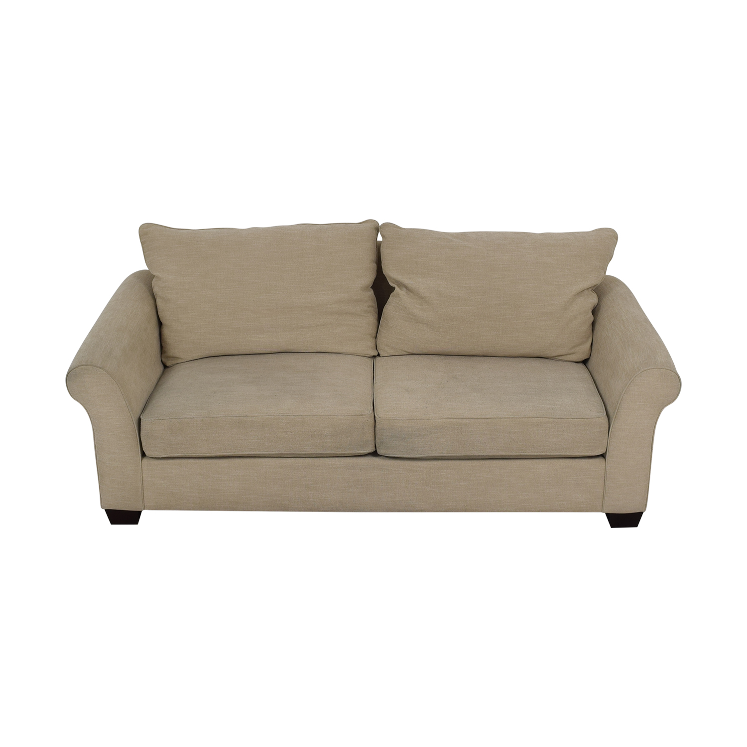 Pottery Barn Pottery Barn Grey Roll Arm Upholstered Couch coupon