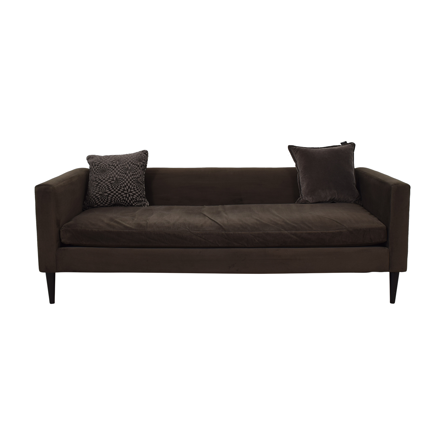 CB2 CB2 Brown Sofa with Two Throw Pillows on sale