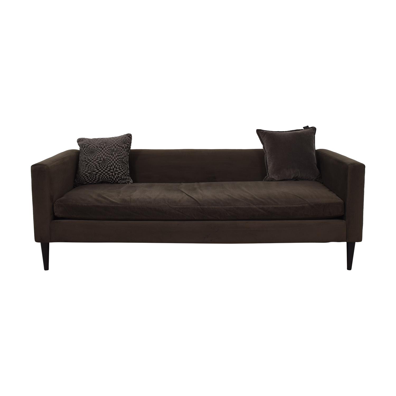 CB2 CB2 Brown Sofa with Two Throw Pillows coupon