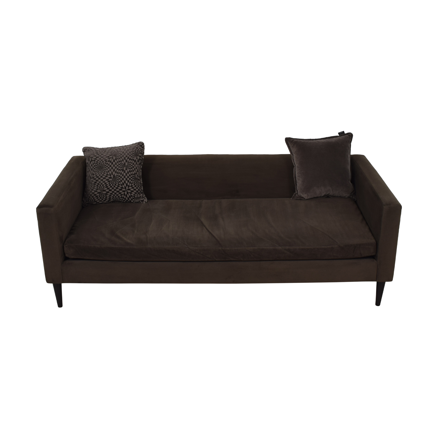 CB2 CB2 Brown Sofa with Two Throw Pillows